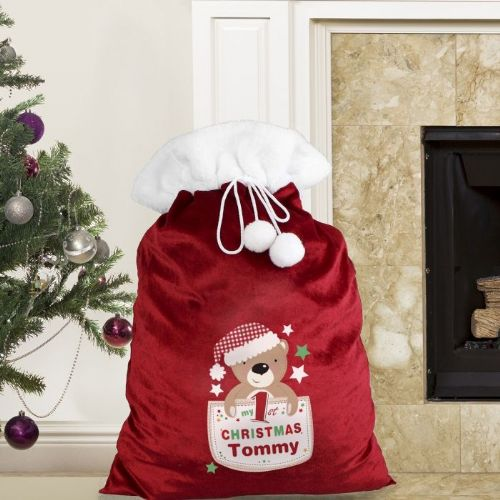 Personalised Pocket Teddy My 1st Christmas Plush Sack